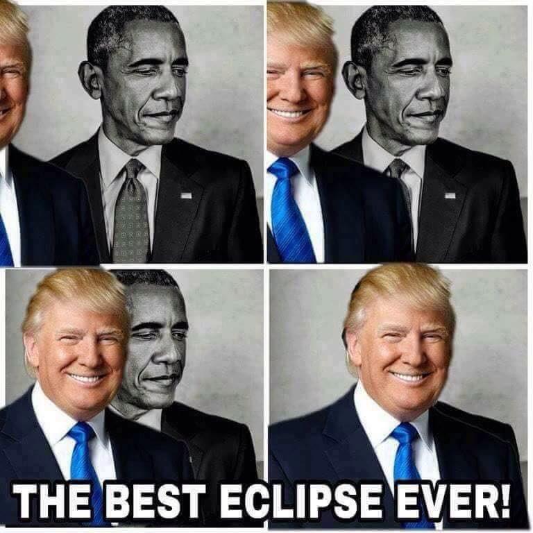 Trump comparte un meme tapando a Obama El mejor eclipse de la historia