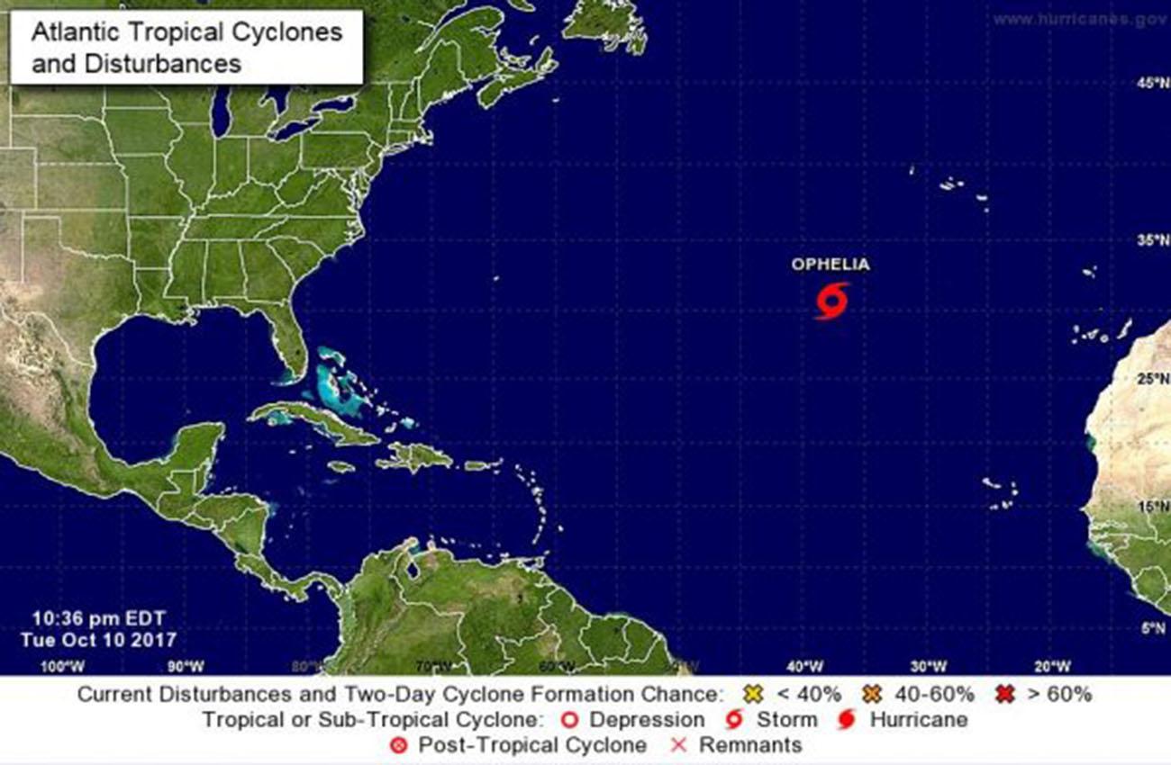 Huracán Ophelia se mueve hacia las Azores