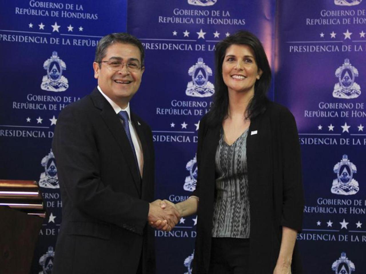 Hernández y embajadora Haley habla sobre seguridad, pandillas y migración