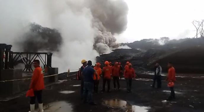 Descenso de lahares en Volcán de Fuego