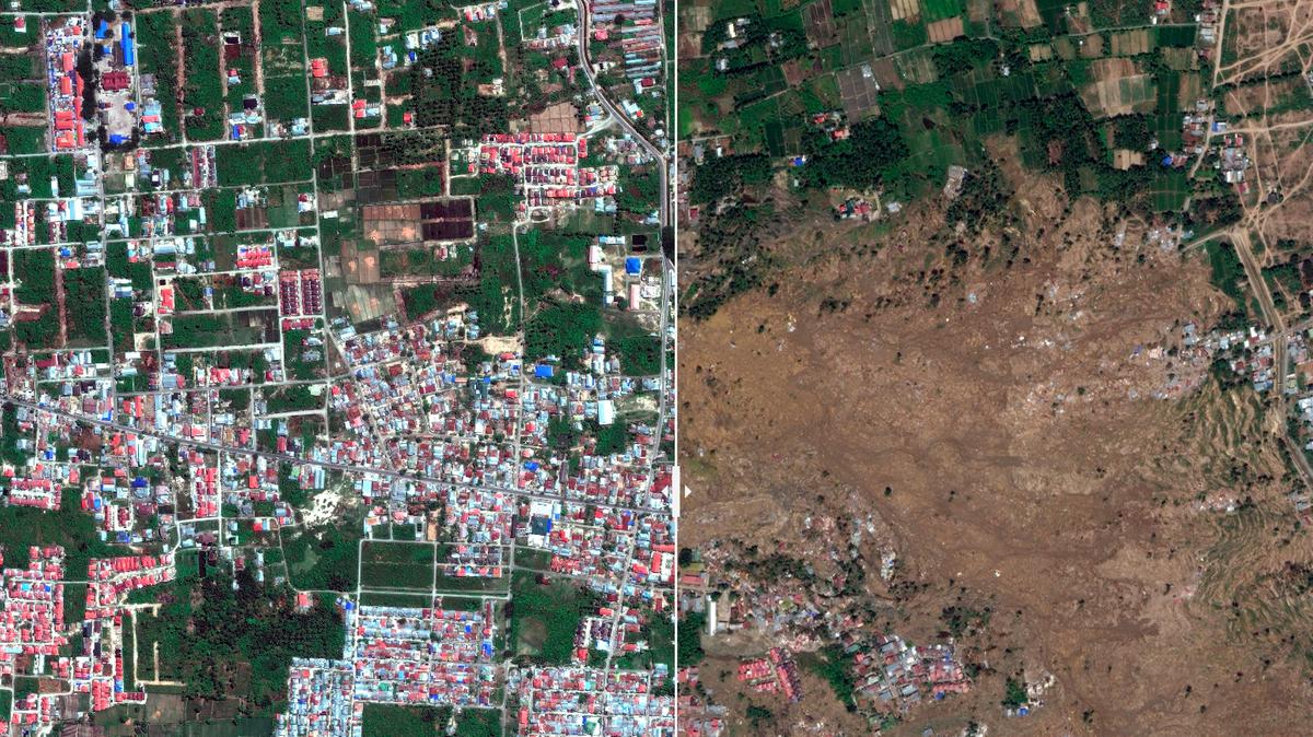 Indonesia Video satélite tsunami terremoto