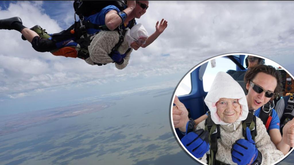 bisabuela paracaidista récord