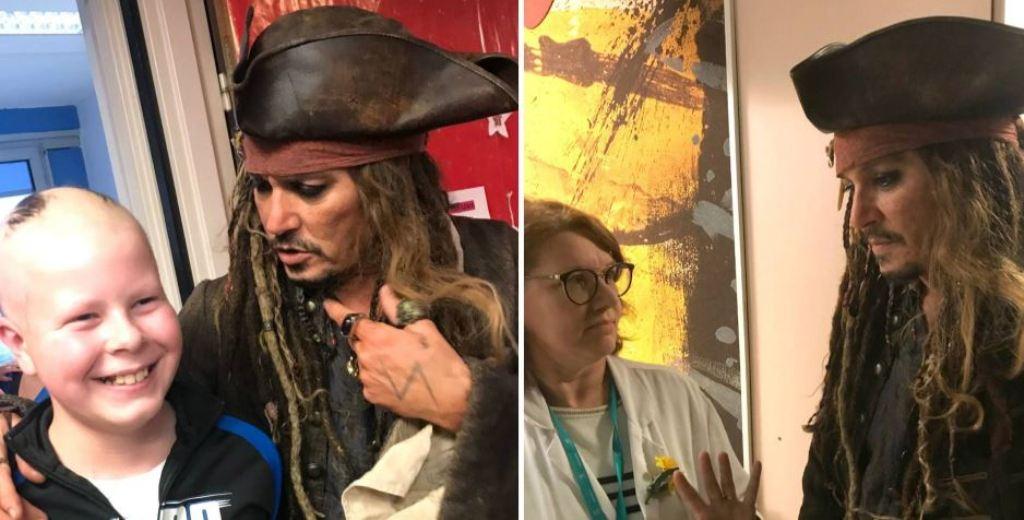 Johnny Depp Jack Sparrow disfrazado cáncer