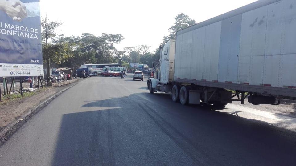 San Marcos pobladores bloquean kilómetro 247