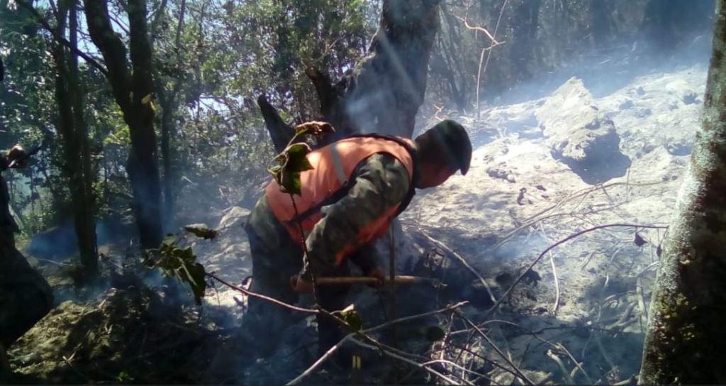 Conred extinguir incendio Cerro Picudo San Marcos