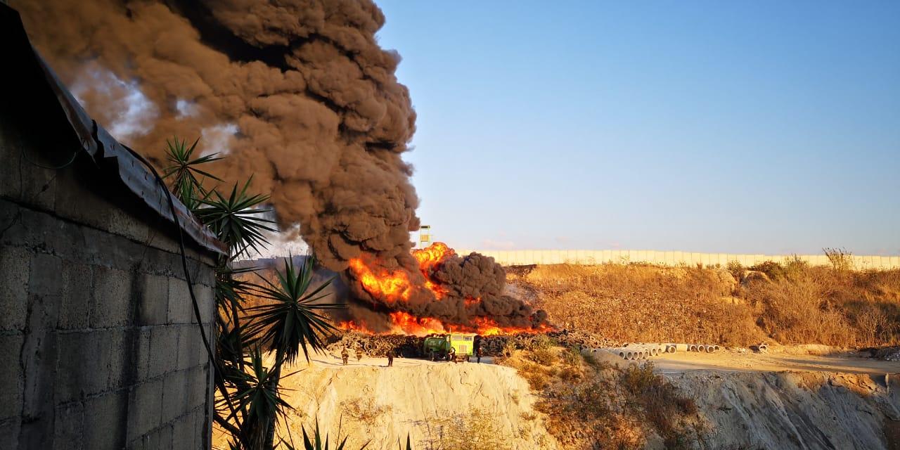 Incendio en el basurero de la zona 3. Foto: Julio López.