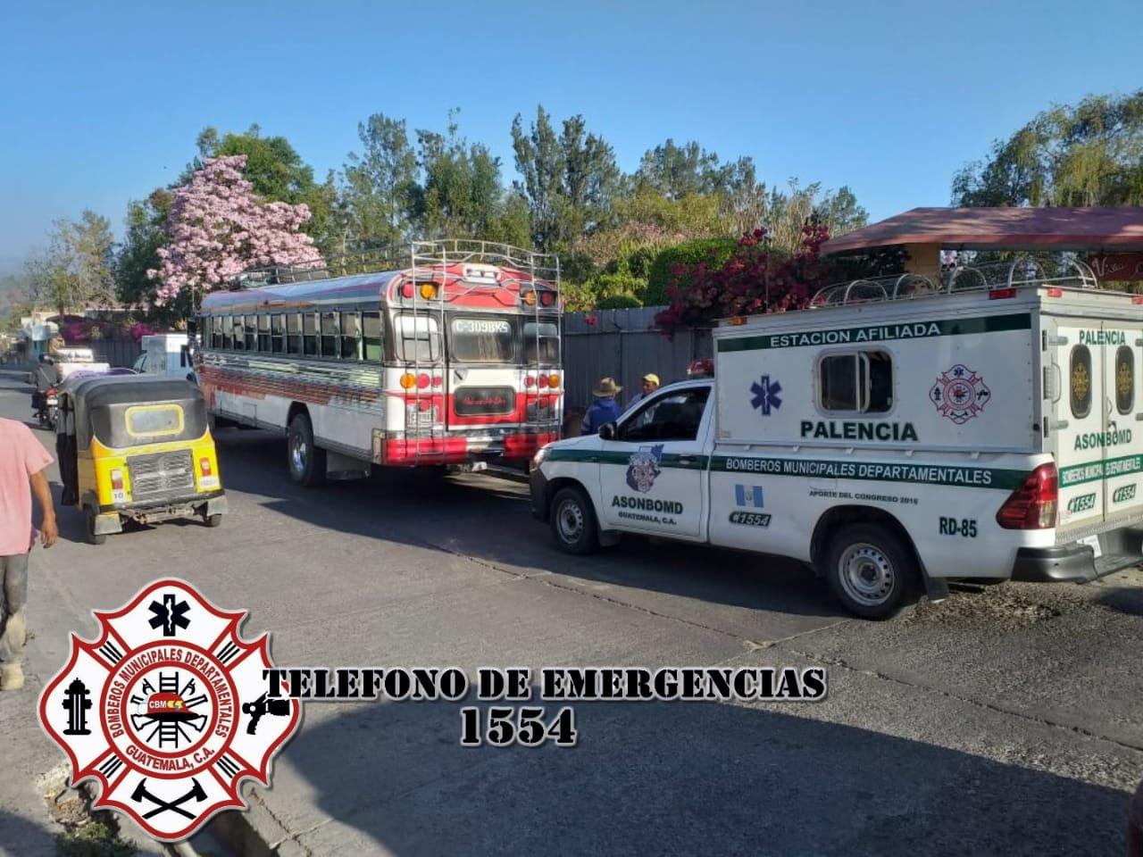 Bus atacado en Palencia. Foto: Bomberos Municipales Departamentales.