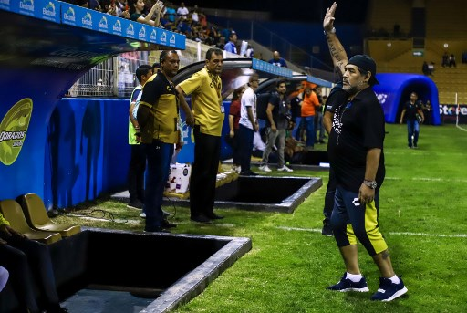 Diego Armando Maradona anunció su retiro como DT de Dorados. Foto: AFP