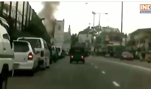 Momento de la explosión en Sri Lanka.
