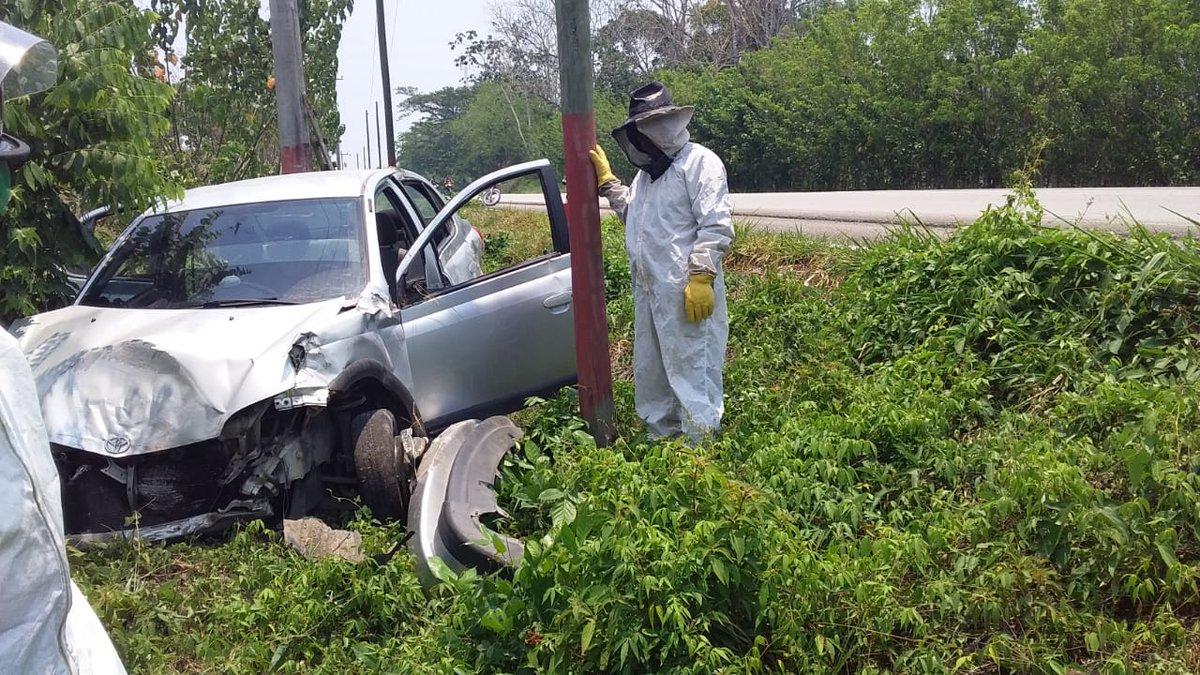 Vehículo se estrelló contra un poste.