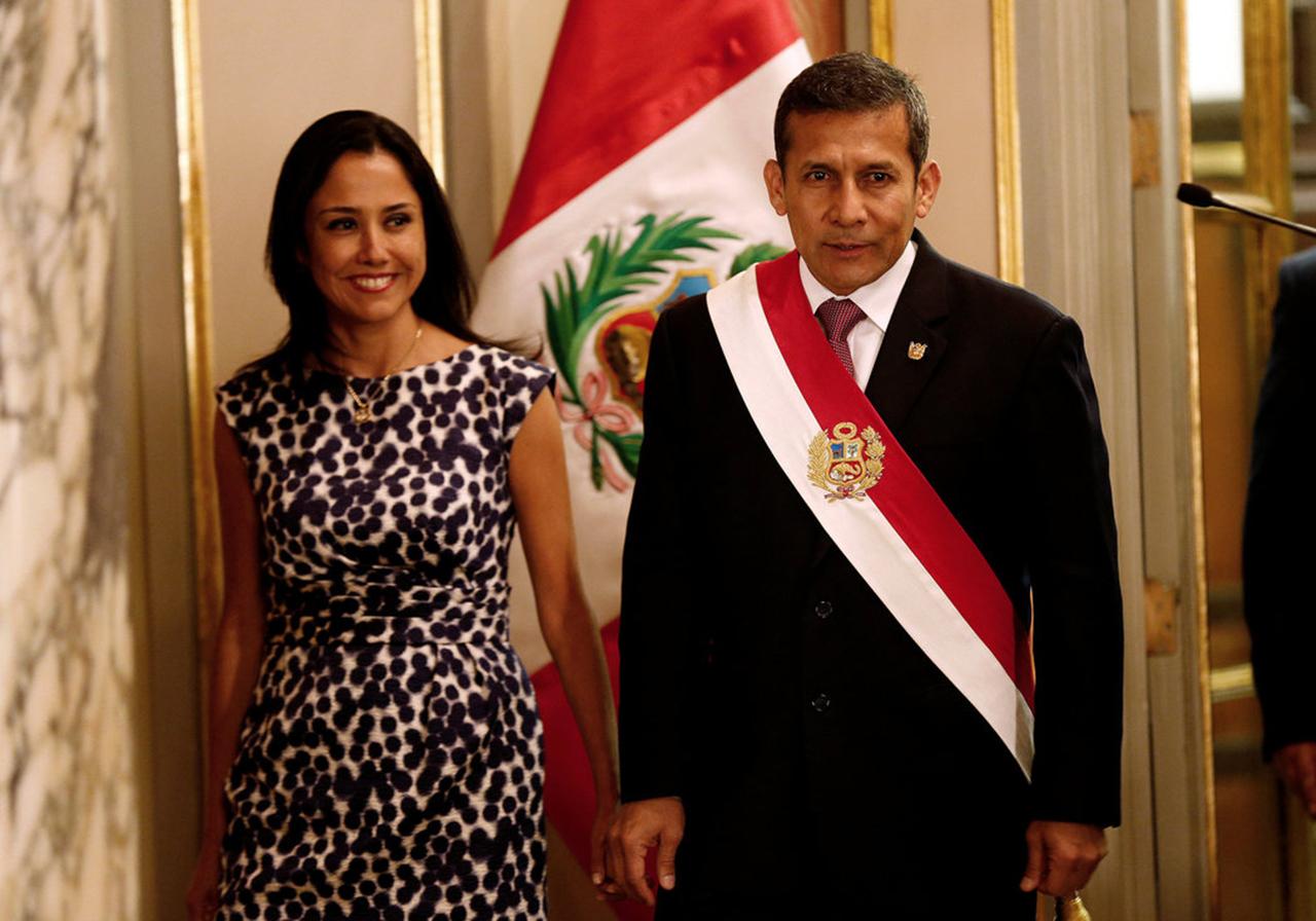 El expresidente de Perú Ollanta Humala (2011-2016) y su esposa, Nadine Heredia