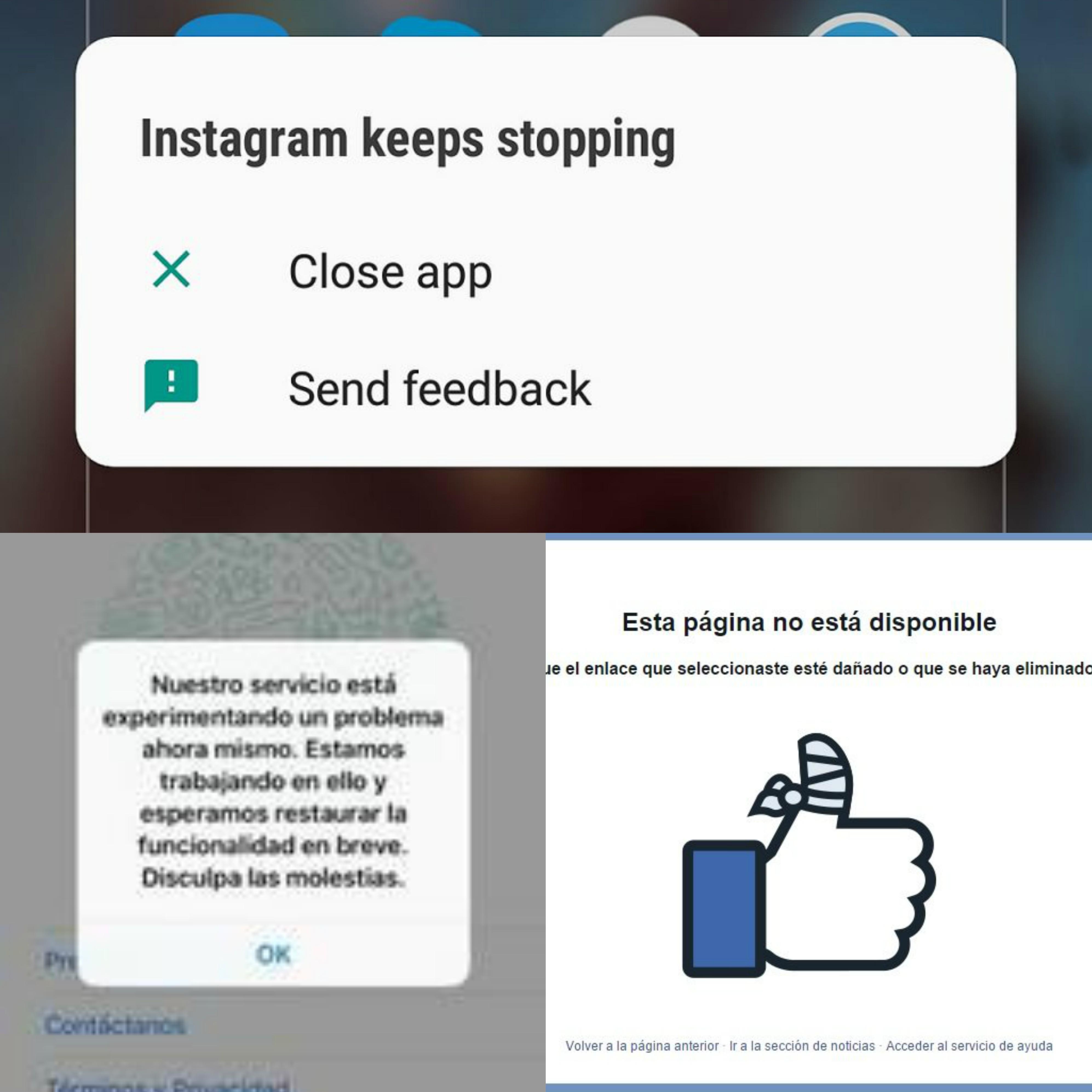 Falla en redes sociales