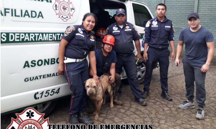 Bomberos rescata a perro atrapado en un pozo de Sacatepéquez