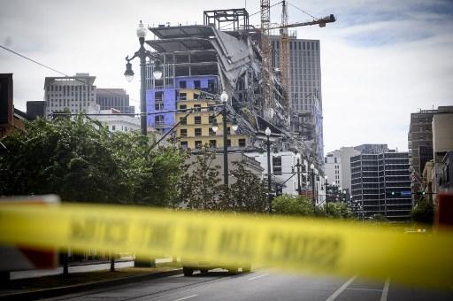Hotel se desploma en Nueva Orleans. Foto AFP