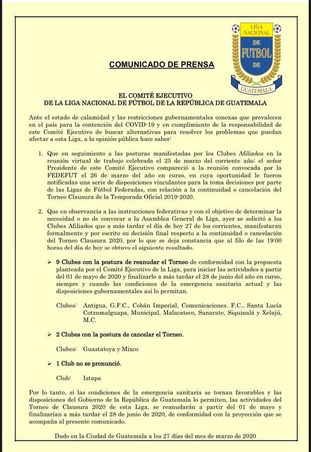 Comunicado de Liga Nacional, Torneo Clausura 2020