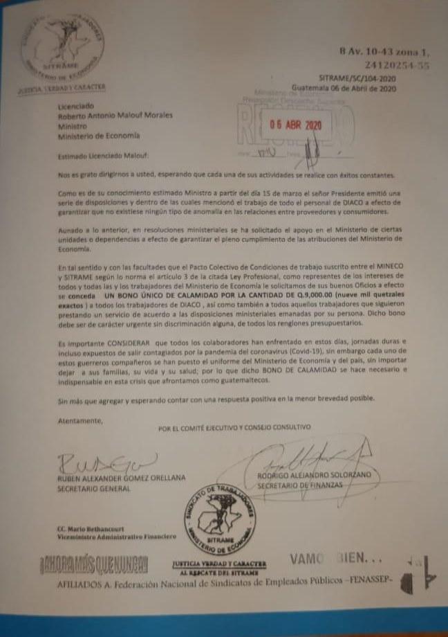 Sindicato del Mineco pide bono de emergencia por coronavirus
