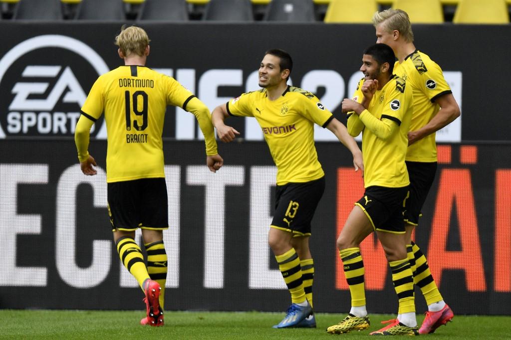 Festejo atípico de los jugadores del Dortmund
