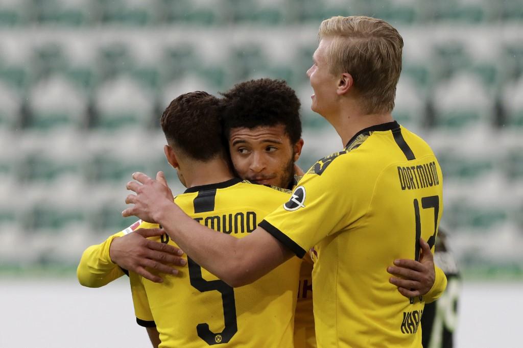 Celebración de los goles del Dortmund