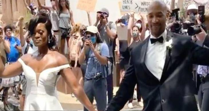 VIDEO | Pareja se casa y se une a protestas tras muerte de George Floyd