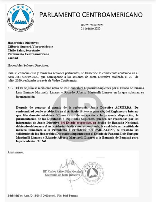 Será la bancada de Panamá la que se encargue de la juramentación.