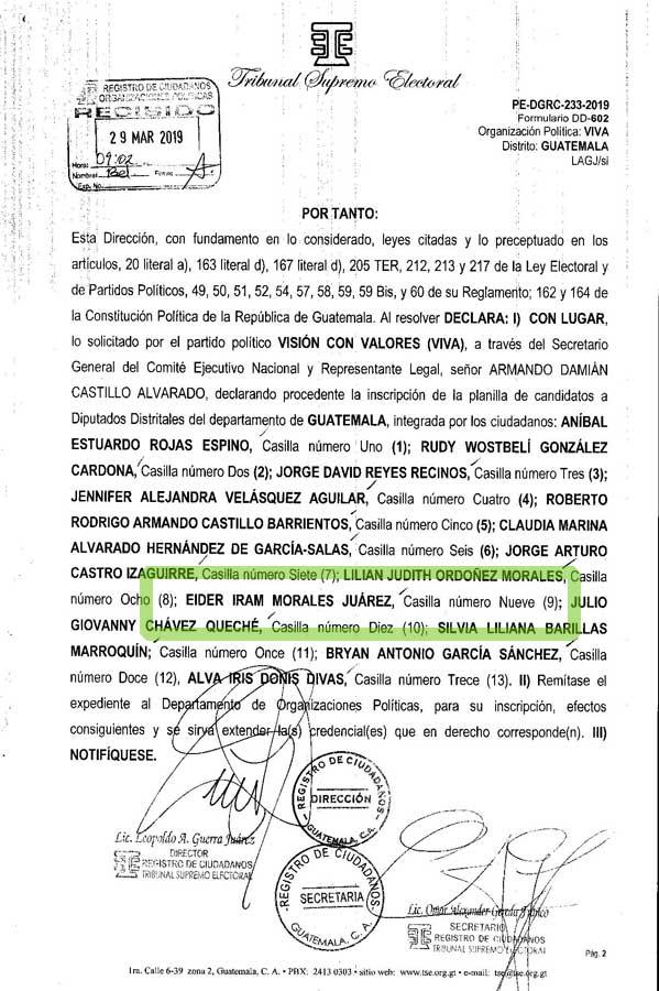 Eider Morales Juárez fue inscrito como candidato a diputado