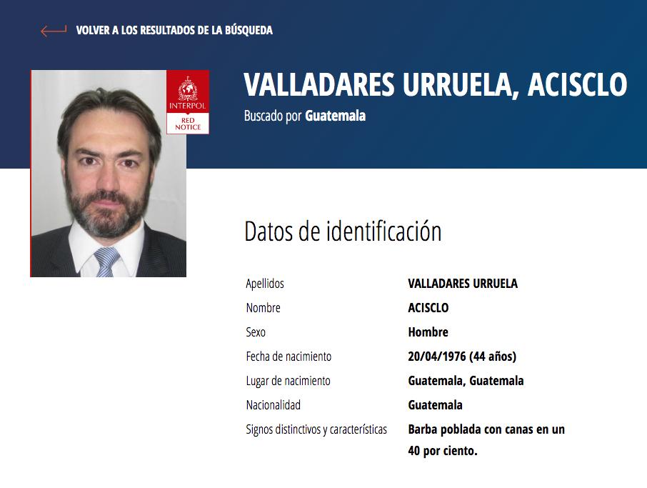 Alerta de Interpol sobre Acisclo Valladares Urruela.