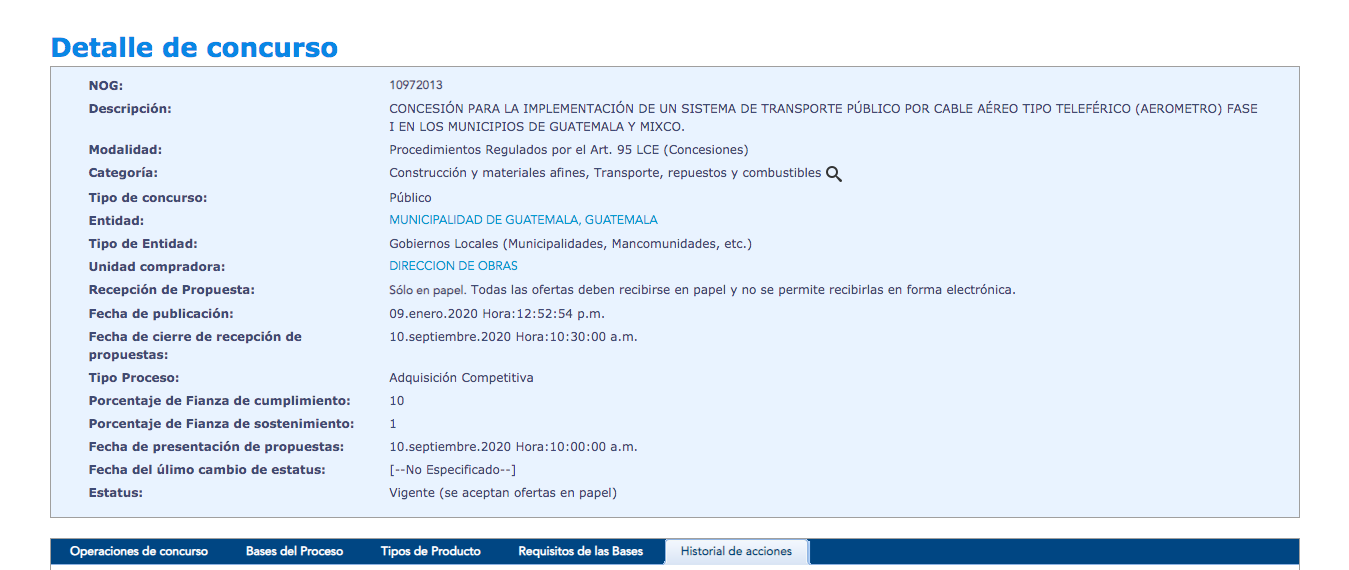 Municipalidad de Guatemala amplía plazo en evento de licitación para Aerometro
