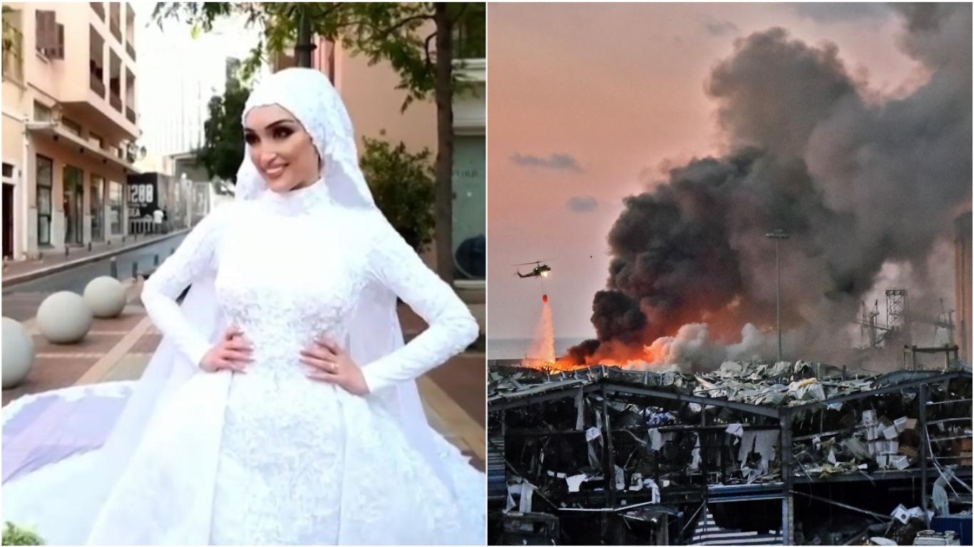 Explosiones en Beirut interrumpen sesión de fotos de una boda