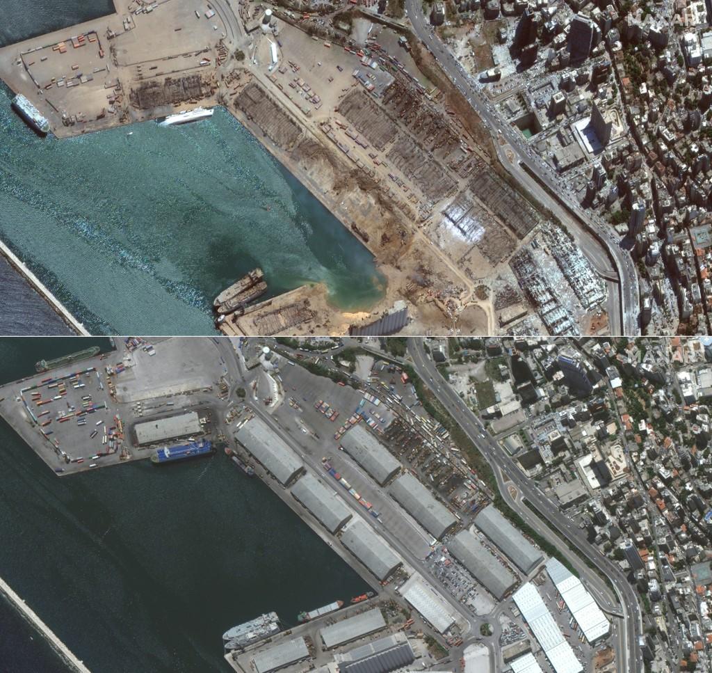 Antes y después de las explosiones en Beirut
