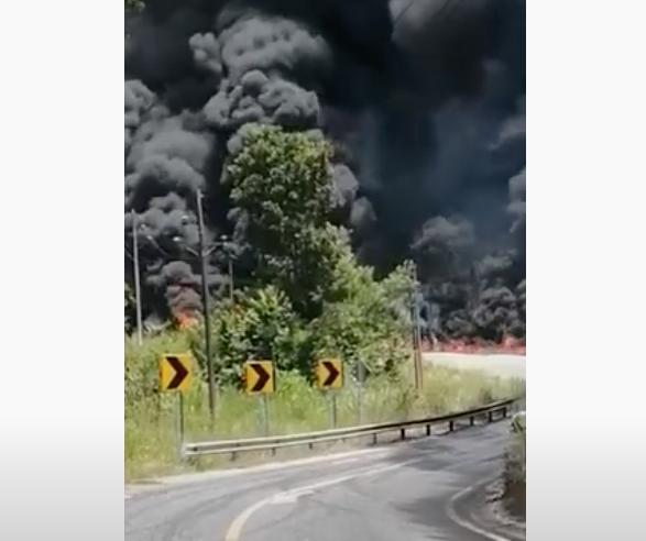incendio de cisterna en Petén