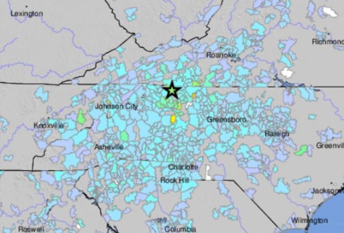 Sismo en Carolina del Norte, 9 de agosto de 2020