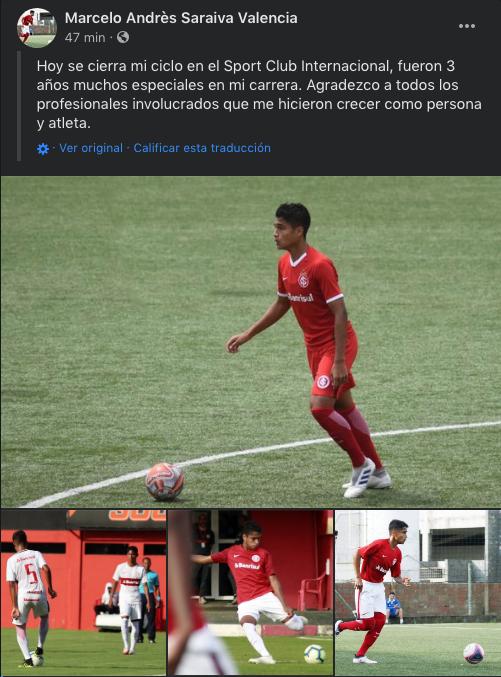 Marcelo Saraiva se despide del Internacional de Porto Alegre