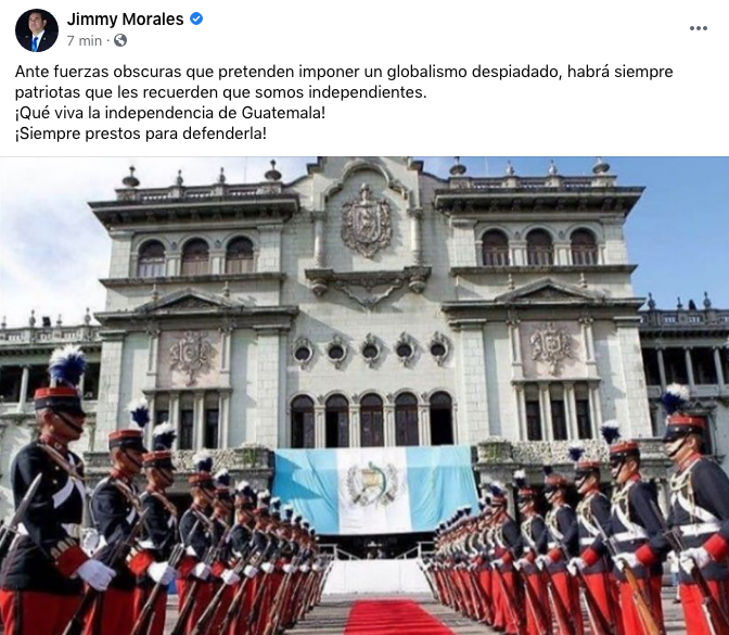 expresidente Jimmy Morales, mensaje por independencia de Guatemala