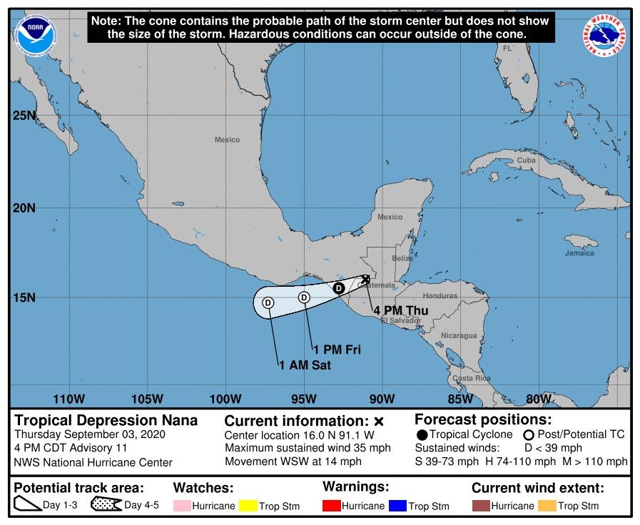 Nana se degrada a depresión tropical