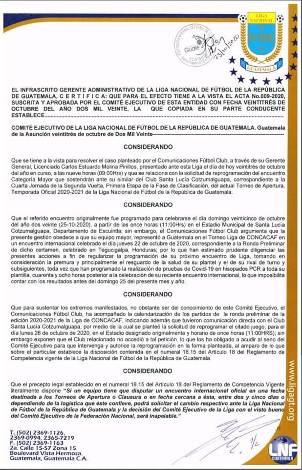 Santa Lucía reprogramación partido contra Comunicaciones