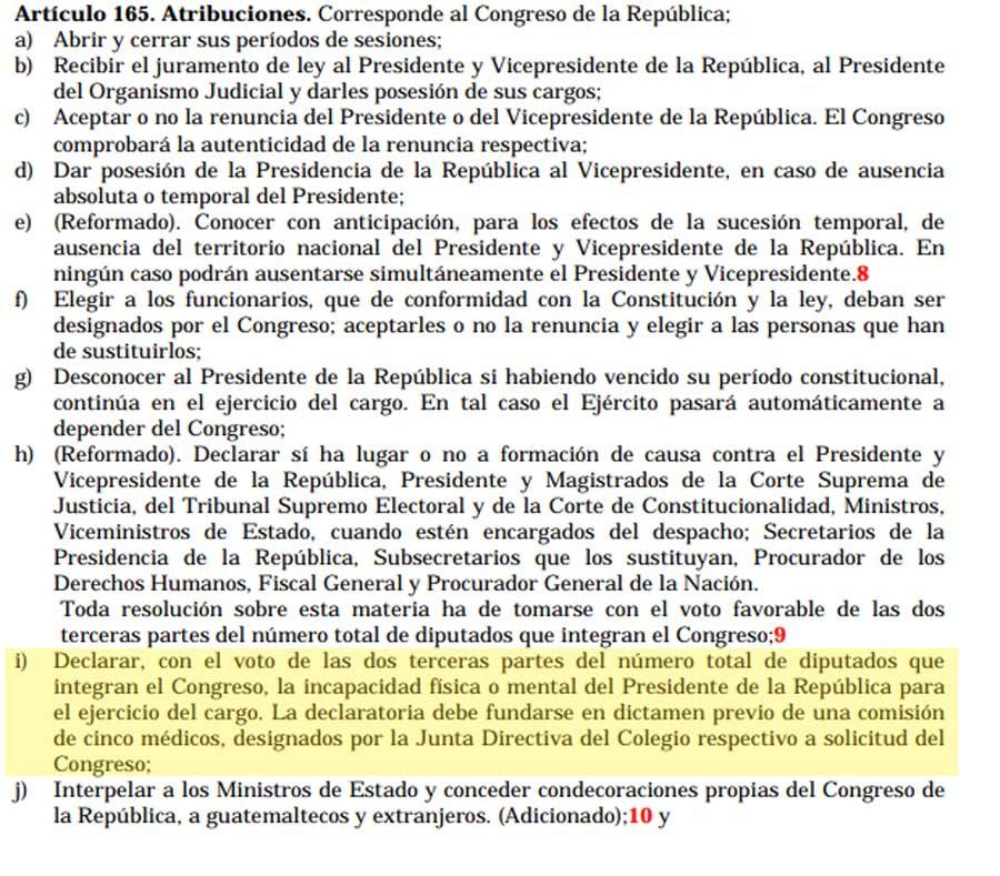 Artículo 165 de la Constitución
