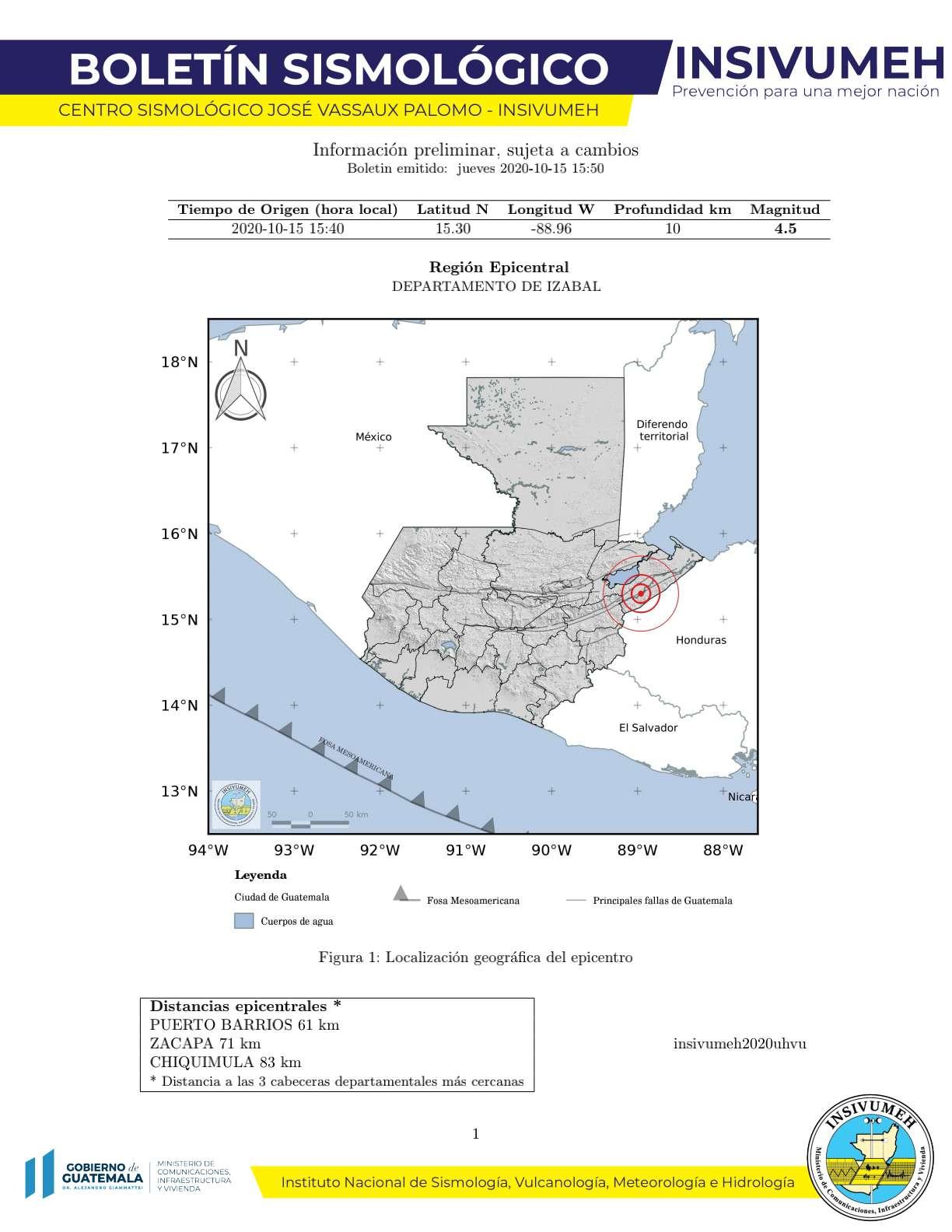 sismo en Guatemala el 15 de octubre
