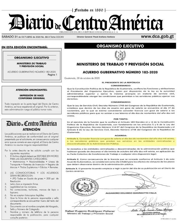 Acuerdo gubernativo 182-2020