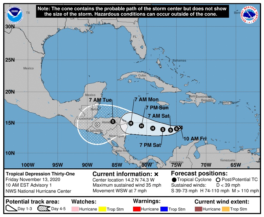 depresión tropical 31