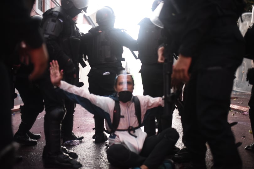 disturbios durante manifestación en el Congreso el 21 de noviembre