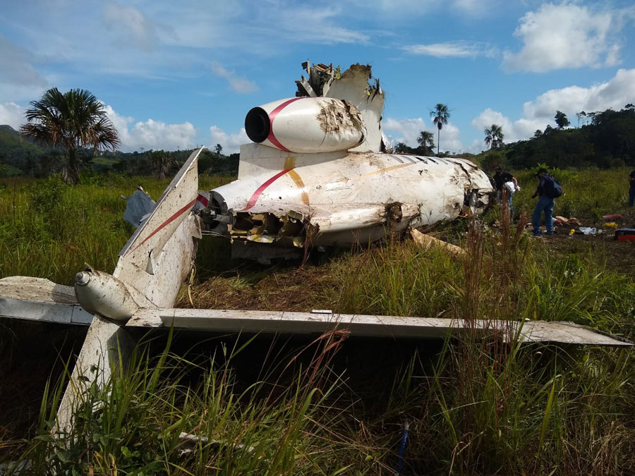 Avioneta accidentada en la Sierra del Lacandón
