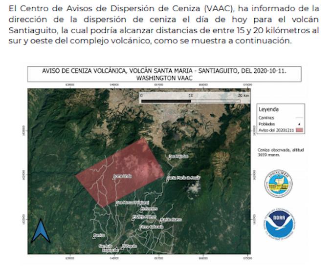caída de ceniza por volcán Santiaguito