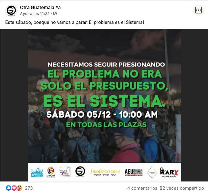 convocatoria para la manifestación para el 5 de diciembre