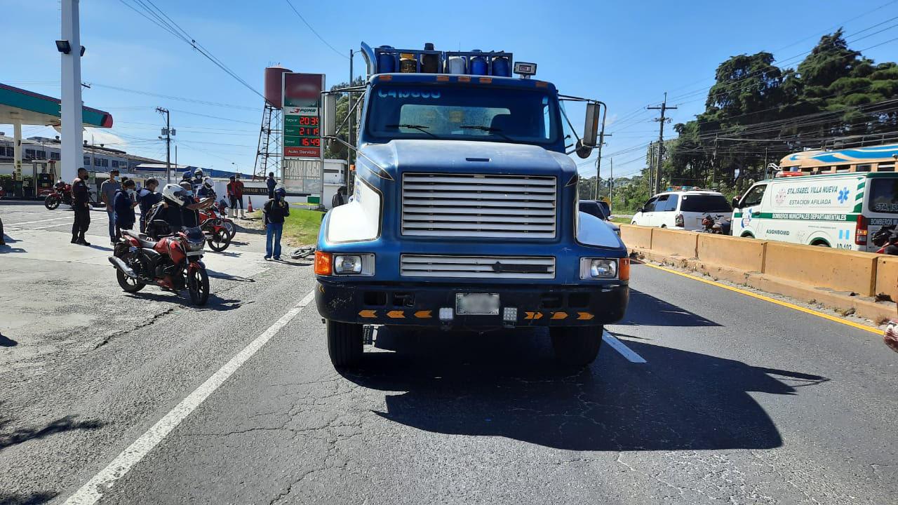 choque de motocicleta y camión en ruta al Pacífico