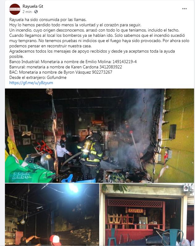 Rayuela informa sobre incendio y pide apoyo económico