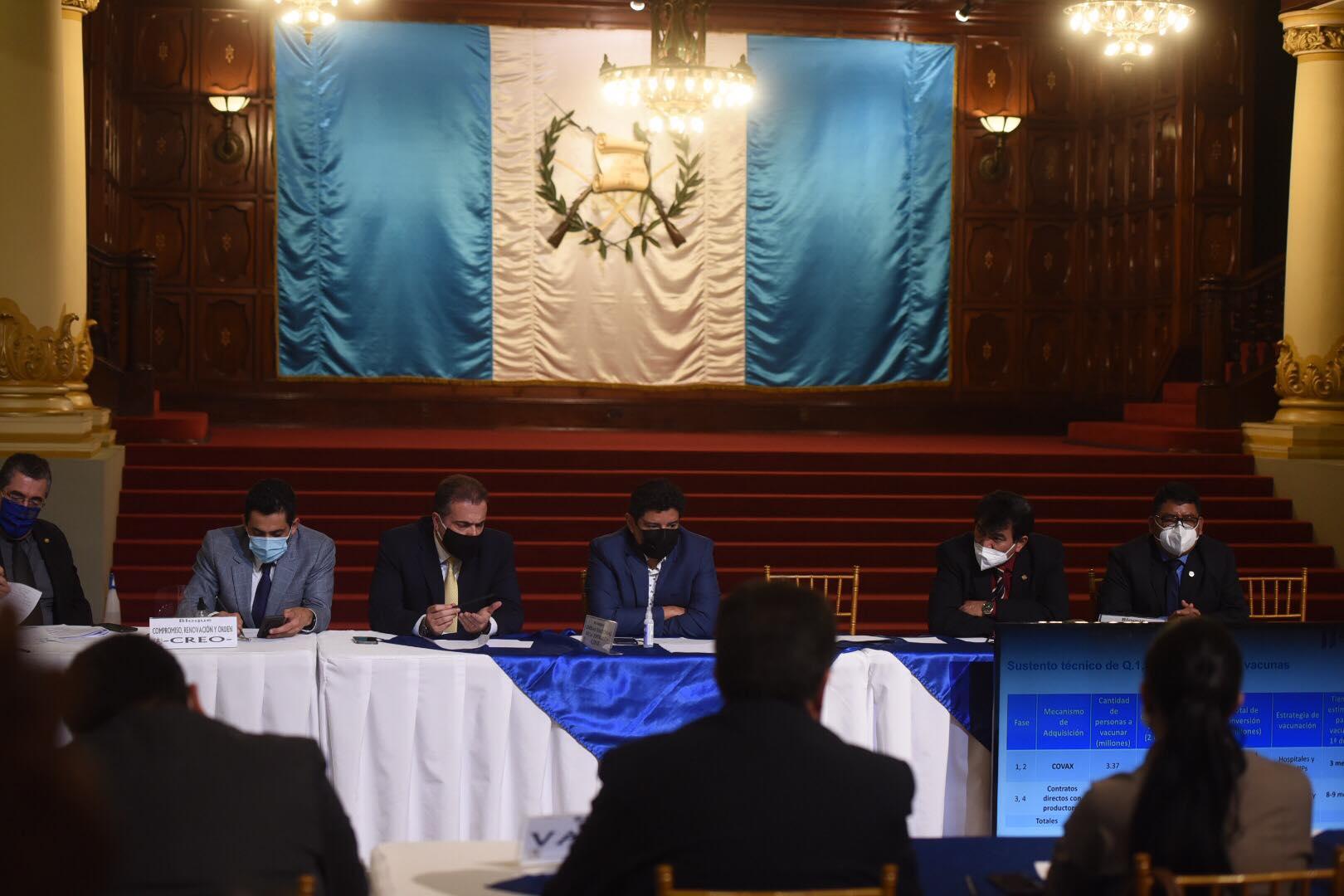 reunión del presidente Alejandro Giammattei con diputados por vacuna contra Covid-19