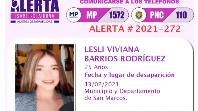 esposa de acosador de San Marcos está desaparecida