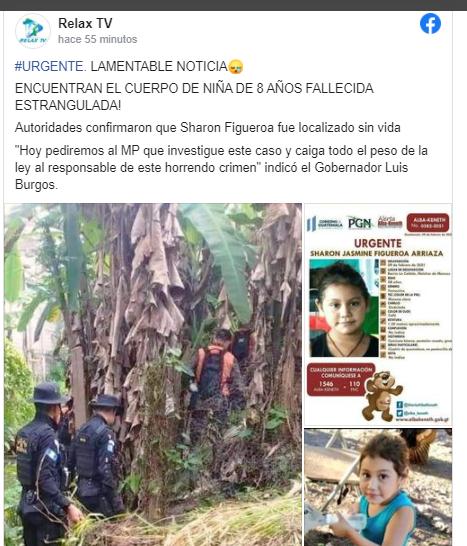 Sharon Figueroa, niña desaparecida en Petén