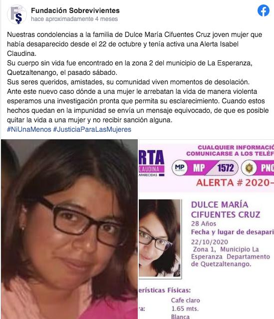 Dulce María Cifuentes Cruz, asesinada en Quetzaltenango