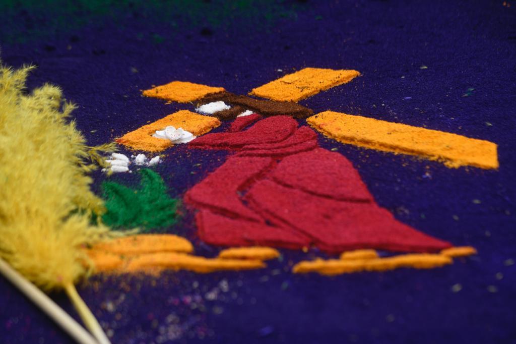 Tradicionales alfombras de aserrín.